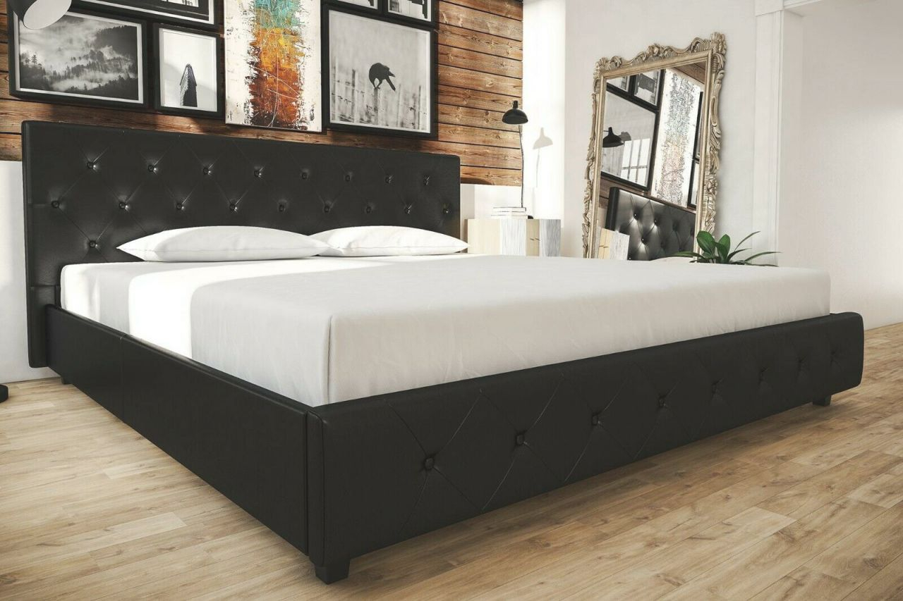 King Bed Frame Black Leather Button Tufted Headboard Footboard Platform Bedroom for King Bed Frame With Headboard