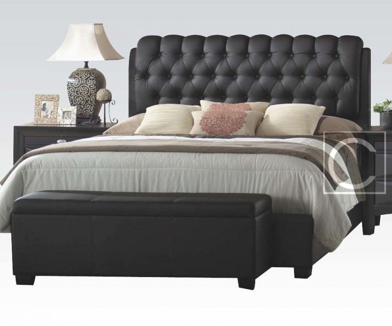 King Size Button Tuff Plush Headboard Black Leather Bed throughout Best of King Bed Frame With Headboard