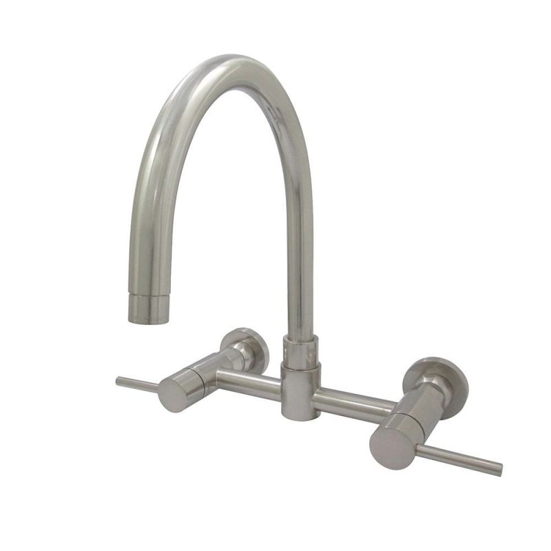 Kingston Brass Concord 2-Handle Wall-Mount Standard Kitchen Faucet In Satin Nickel for Wall Mount Kitchen Faucet