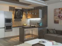 Kitchen In Living Room With Bar Counter. Original Interior Ideas intended for Luxury Living Room Bar Ideas