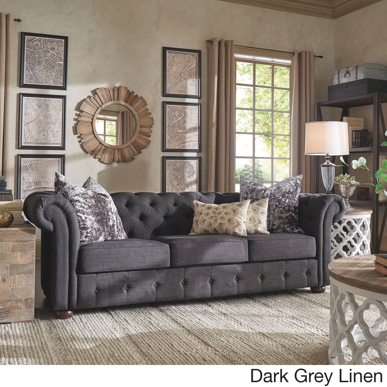 Knightsbridge Tufted Scroll Arm Chesterfield Sofainspire Q Artisan pertaining to Tufted Living Room Furniture