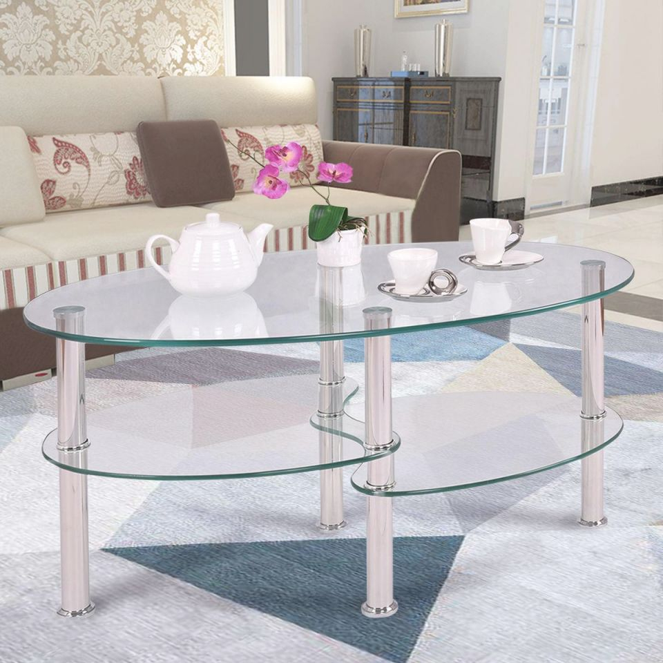 Ktaxon Clear Glass Oval Side Coffee Table Shelf Chrome Base Living Room Furniture within Living Room Furniture Tables