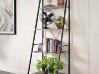 ladder-display-shelf-black-frame-with-wooden-shelves-four-legs-standalone-design