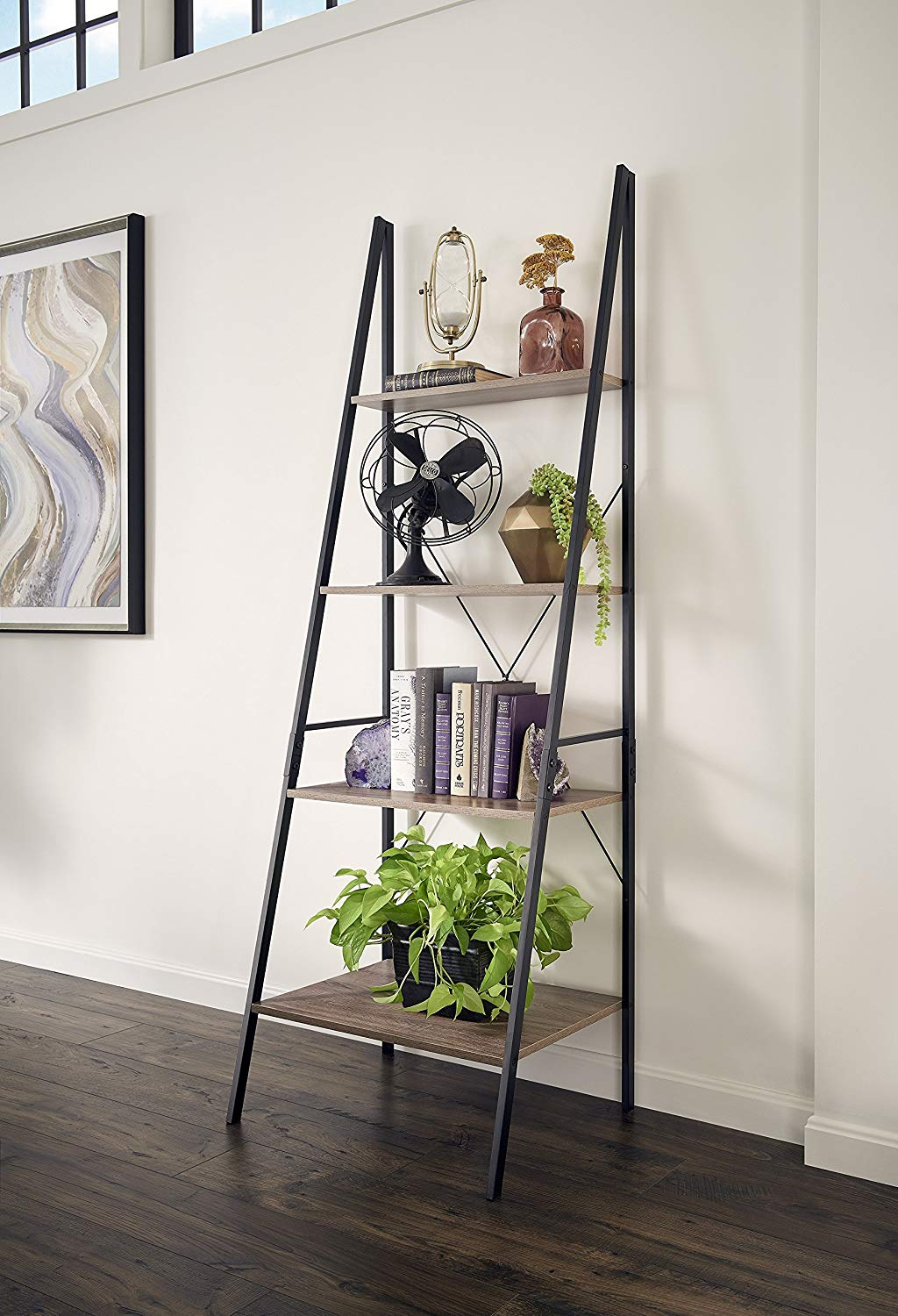 ladder-display-shelf-black-frame-with-wooden-shelves-four-legs-standalone-design
