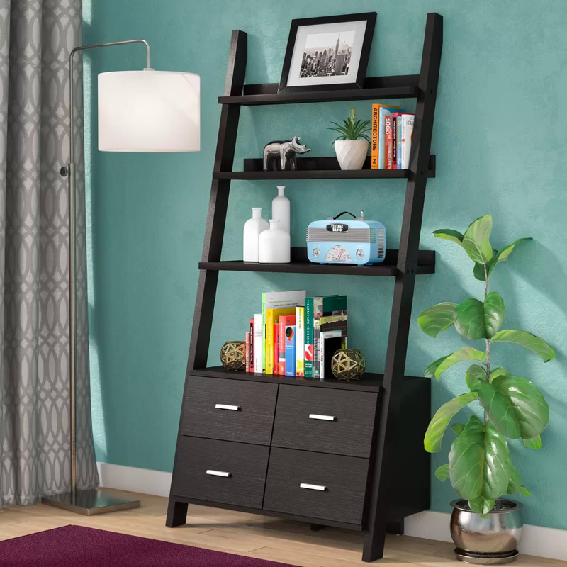 ladder-shelf-with-drawers-dark-finish-for-modern-interiors
