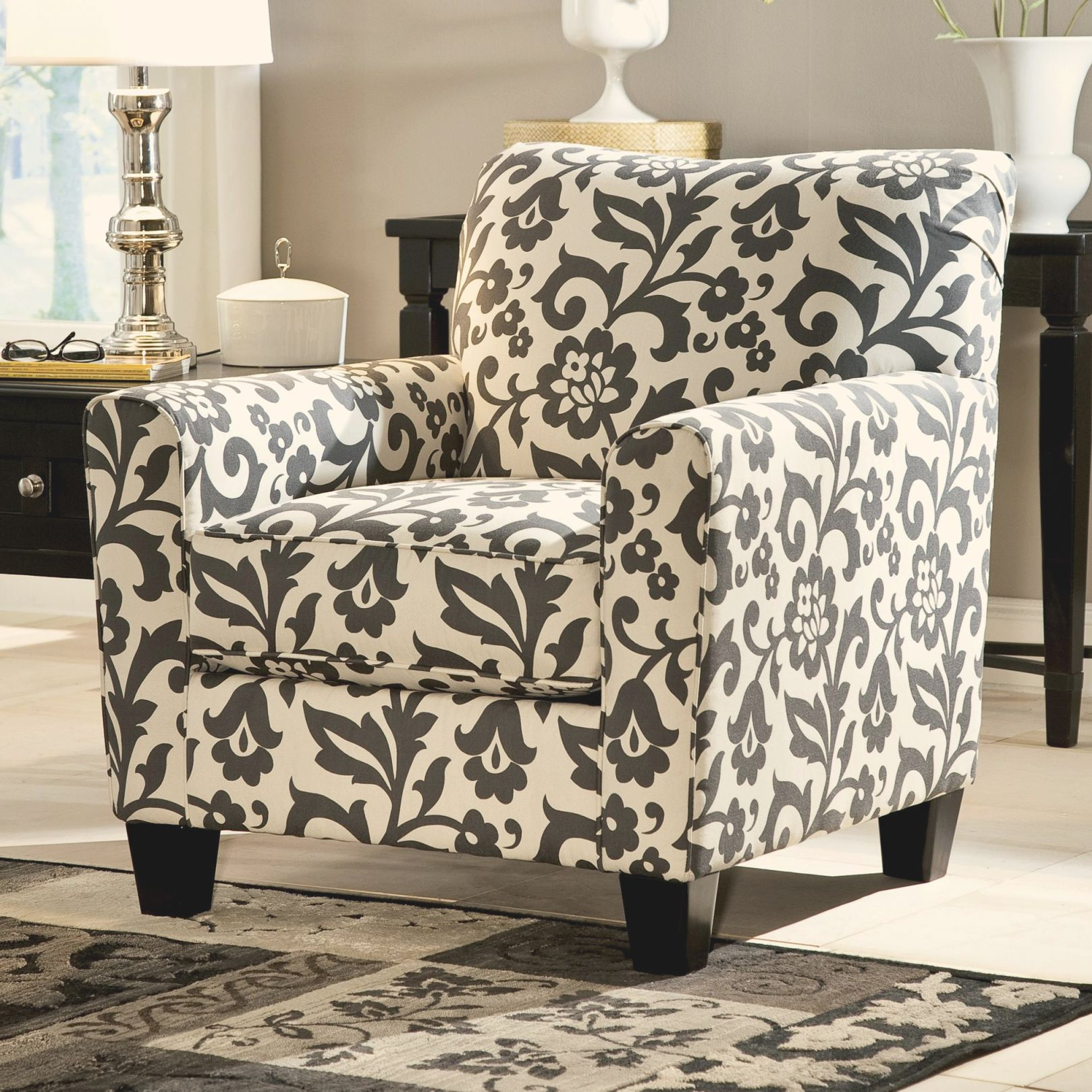 Picture of: Levon Charcoal Accent Chair In Floral Printsignature Designashley At Royal Furniture Pertaining To Floral Living Room Furniture Awesome Decors