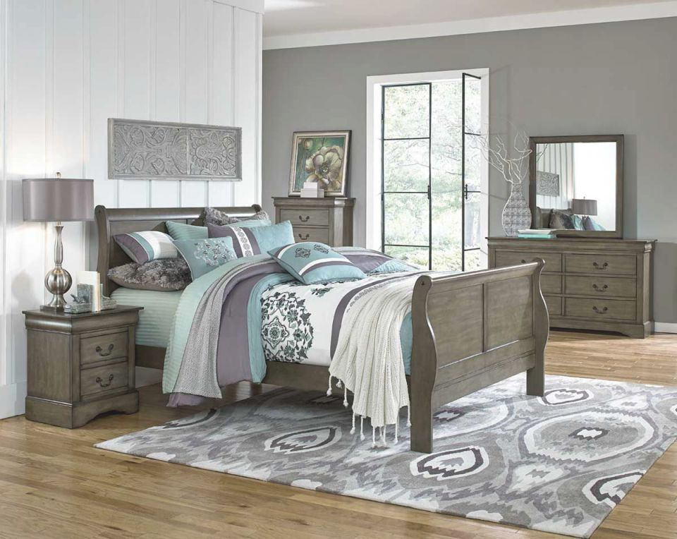 Lewiston Grey 5 Piece Full Bedroom Set for Bedroom Set Grey