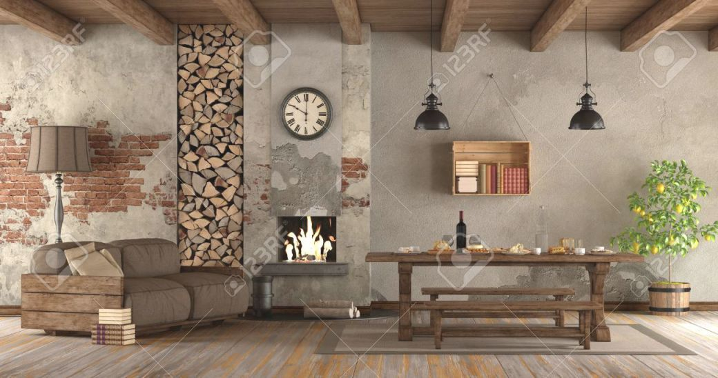 Living Room With Fireplace In Rustic Style With Sofa And Dining.. with regard to Rustic Living Room Furniture