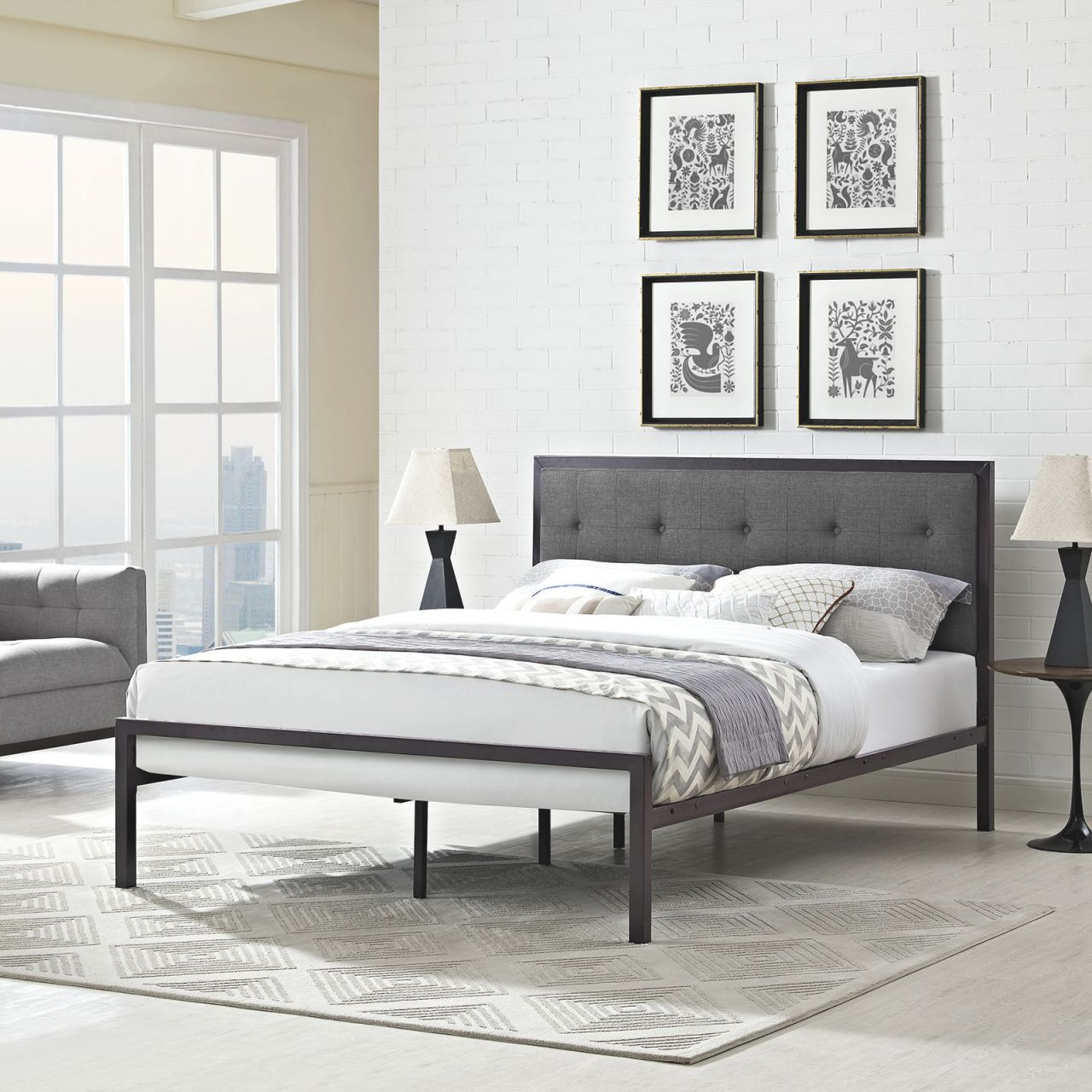 Lottie 5447 King Platform Brown Metal Bed Frame With Gray Fabric Headboard throughout Best of King Bed Frame With Headboard