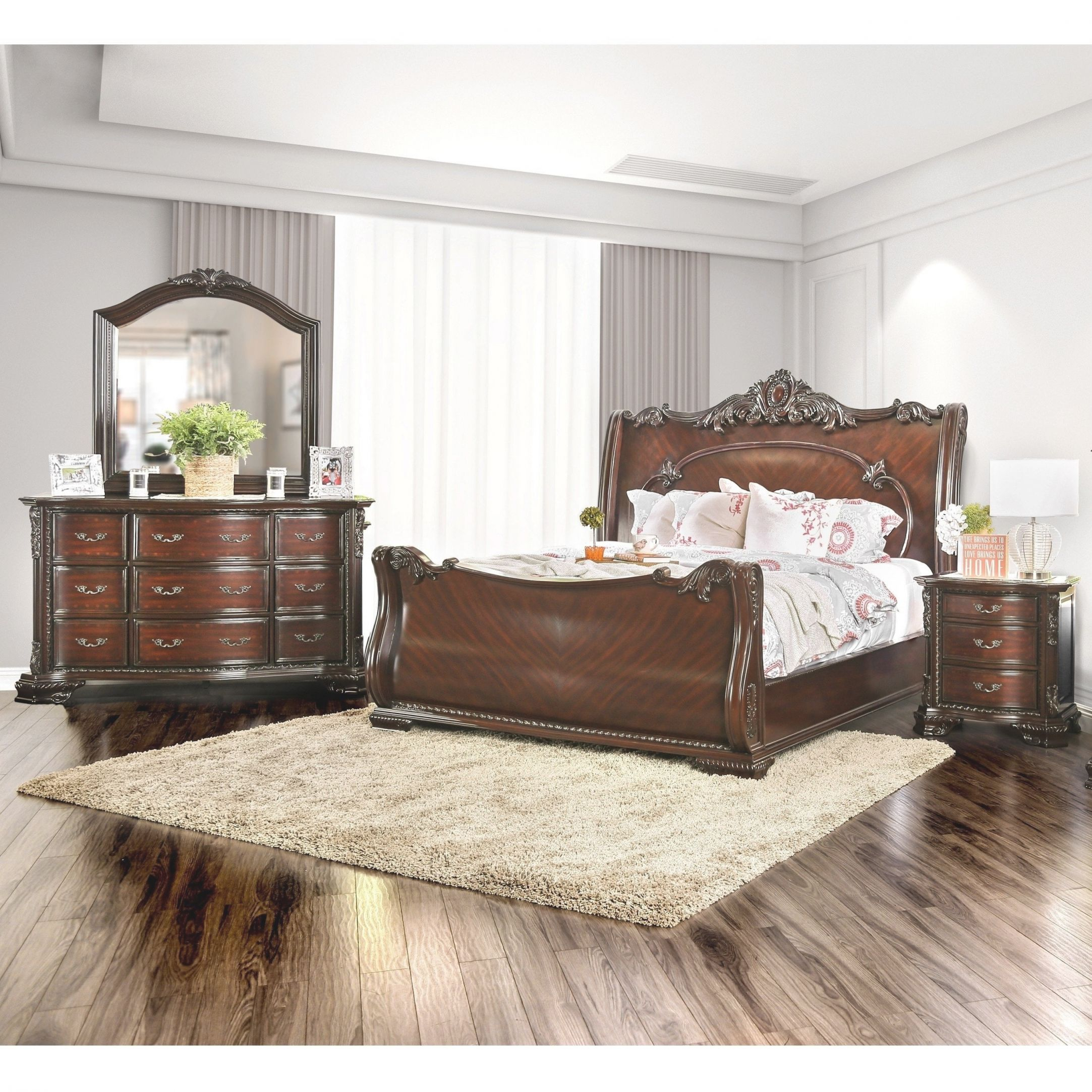 Luxury Traditional Brown Cherry 4-Piece Bedroom Setfoa intended for Awesome Bedroom Set Luxury