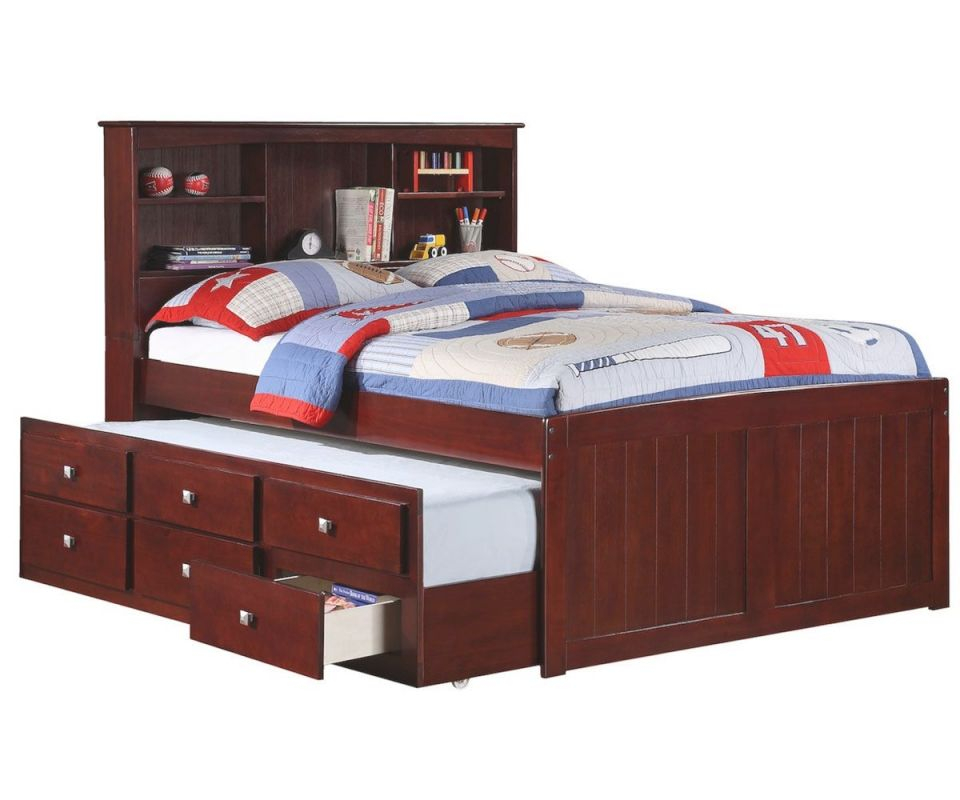 Manhattan Full Size Bookcase Captains Trundle Bed Cappuccino for Full Size Bed With Trundle Bedroom Set