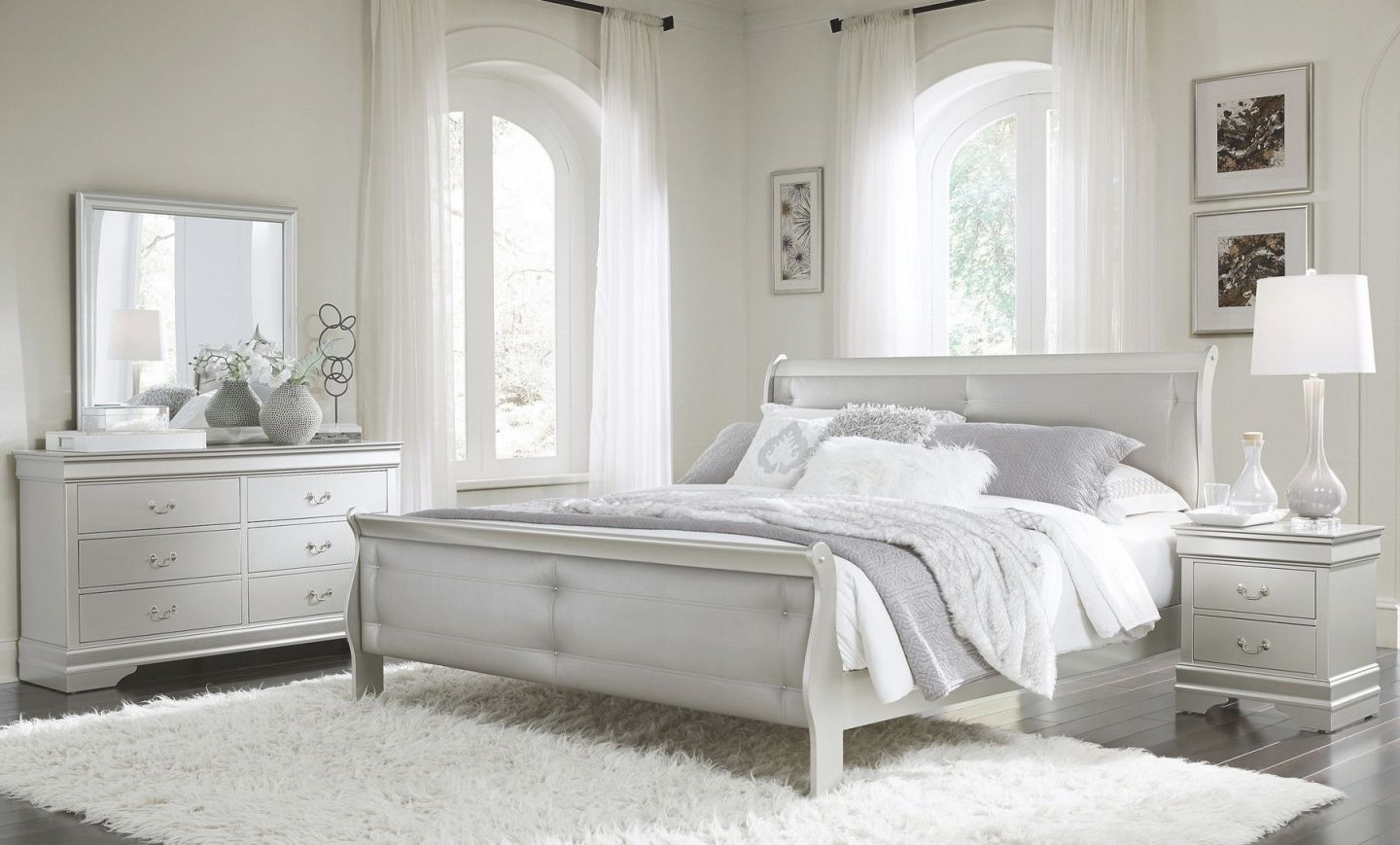 Marley Silver Queen Set Queen Size B,2Ns,dr,mr regarding Luxury Bedroom Set Queen Size