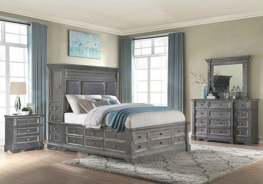 Marseille Storage Bedroom Set (Grey) with Bedroom Set Grey