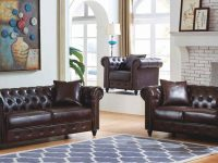Mcferran Sf1803-S Traditional Premium Dark Brown Pu Living Room Sofa with regard to New Traditional Living Room Furniture