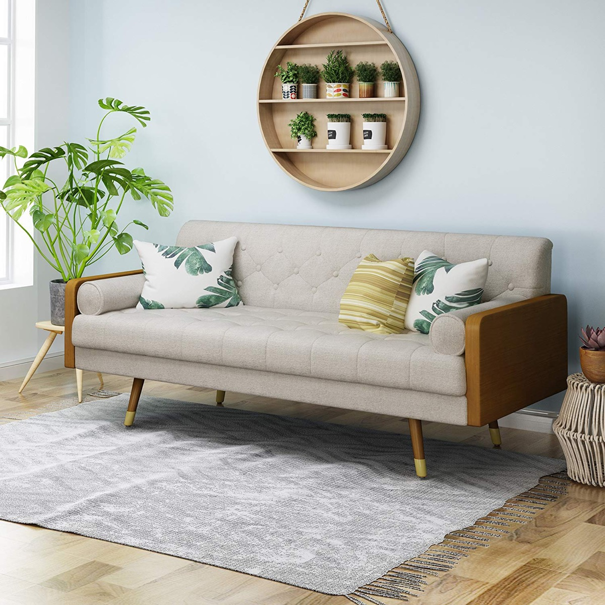 mid-century-modern-sofa-with-wood-body-and-tufted-grey-upholstery