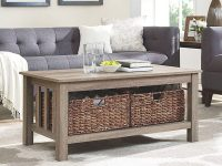 Middlebrook Designs 40-Inch Coffee Table With Wicker Storage Baskets, Driftwood, Rustic Living Room Table – 40 X 22 X 18H pertaining to Lovely Storage Furniture For Living Room