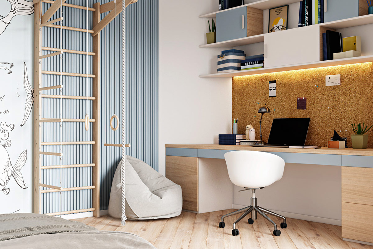 modern-blue-kids-bedroom-with-jungle-gym-reading-nook-and-work-desk-with-corkboard