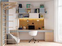 modern-blue-kids-homework-desk-design-inspiration-corkboard-and-open-shelves-with-cabinets