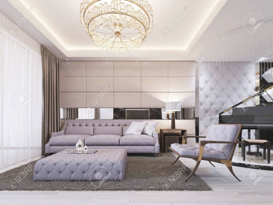 Modern Classic New Art-Deco Living Room Interior Design With.. with Modern Living Room Furniture
