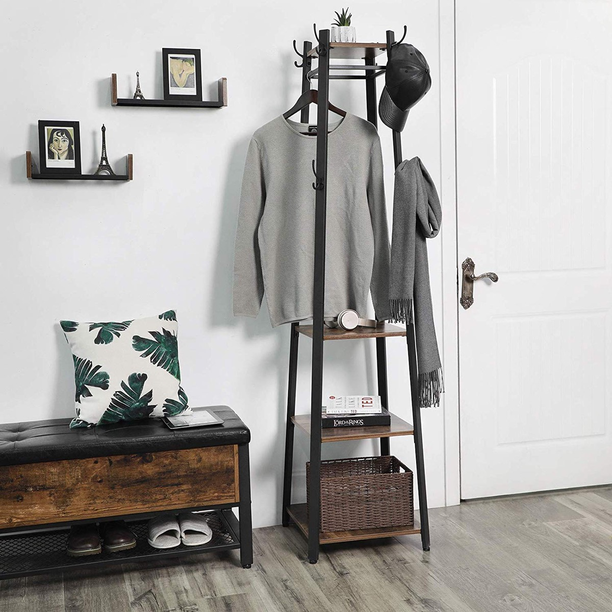 modern-industrial-ladder-shelf-with-hooks-for-entryway-mudroom-coatrack-storage