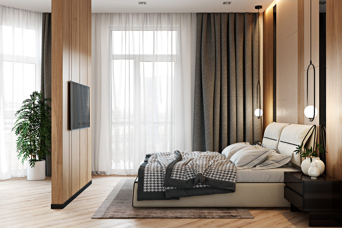 modern-master-bedroom-design-with-freestanding-television-wall