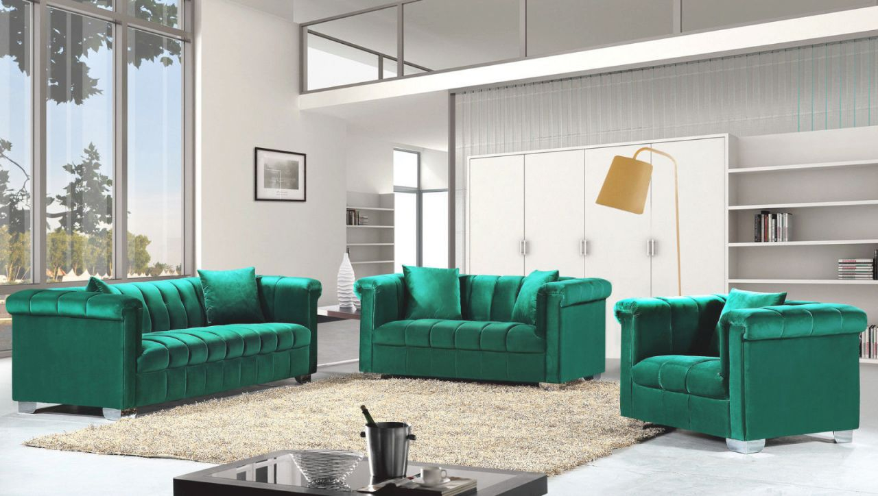 Modern Style 3Pcs Sofa Set Green Smooth Velvet Fabric Chrome Legs Tufted Seat Back Living Room Furniture New! pertaining to Unique Tufted Living Room Furniture