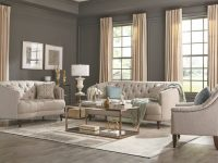Modern Traditional Living Room 3-Piece Sofa Loveseat Couch Set Gray Fabric pertaining to Traditional Living Room Furniture