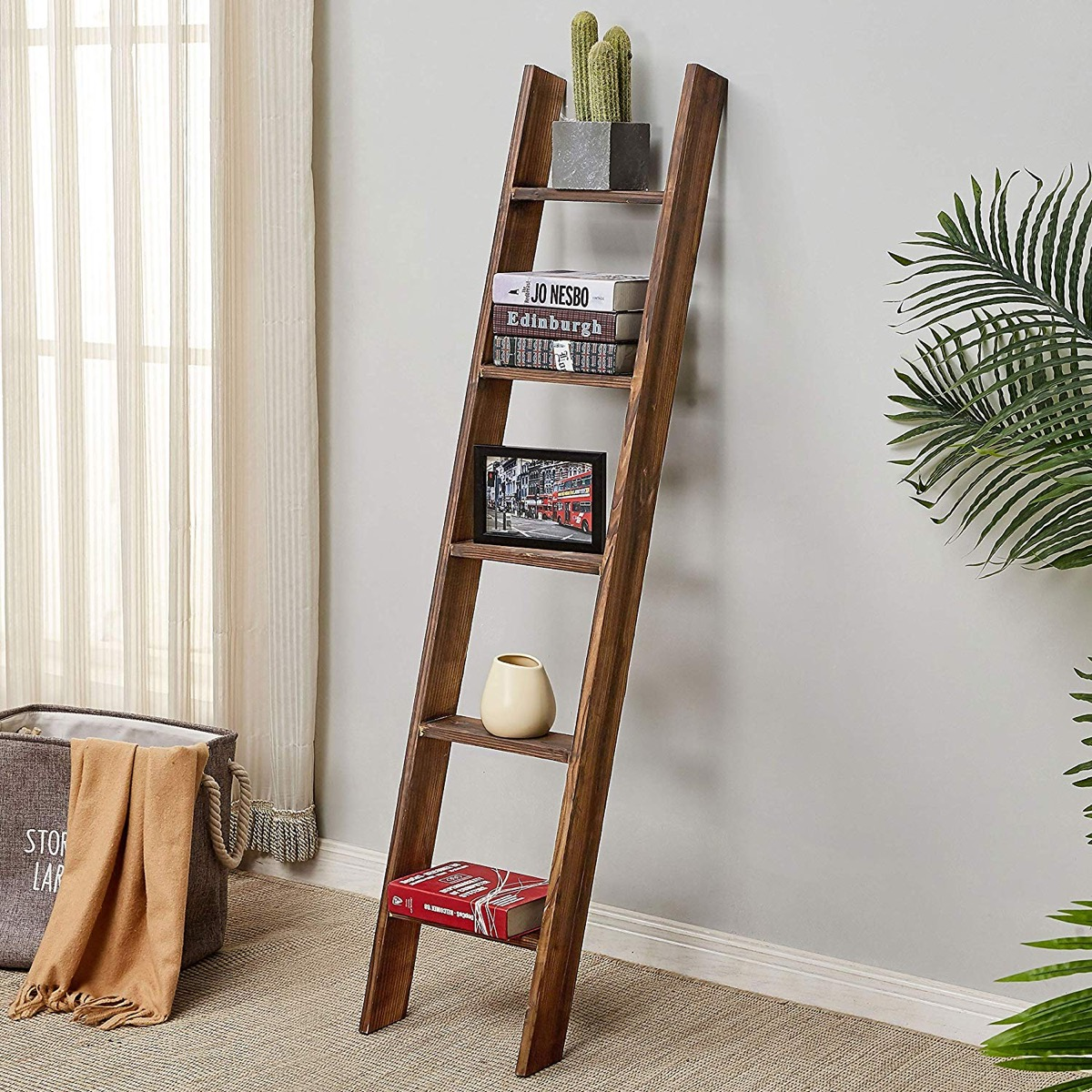 narrow-ladder-shelf-for-modern-rustic-industrial-interior-design