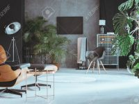 Open Space In Big Living Room With Exotic Plants And Retro Furniture for Big Living Room Furniture