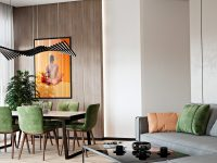 orange-and-green-open-concept-living-room-design-unique-accent-color-inspiration-with-modern-layout