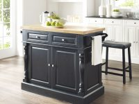 "Oxford Butcher Block Top Kitchen Island In Black Finish With 24"" Black Upholstered Saddle Stools throughout Elegant Butcher Block Kitchen Island"