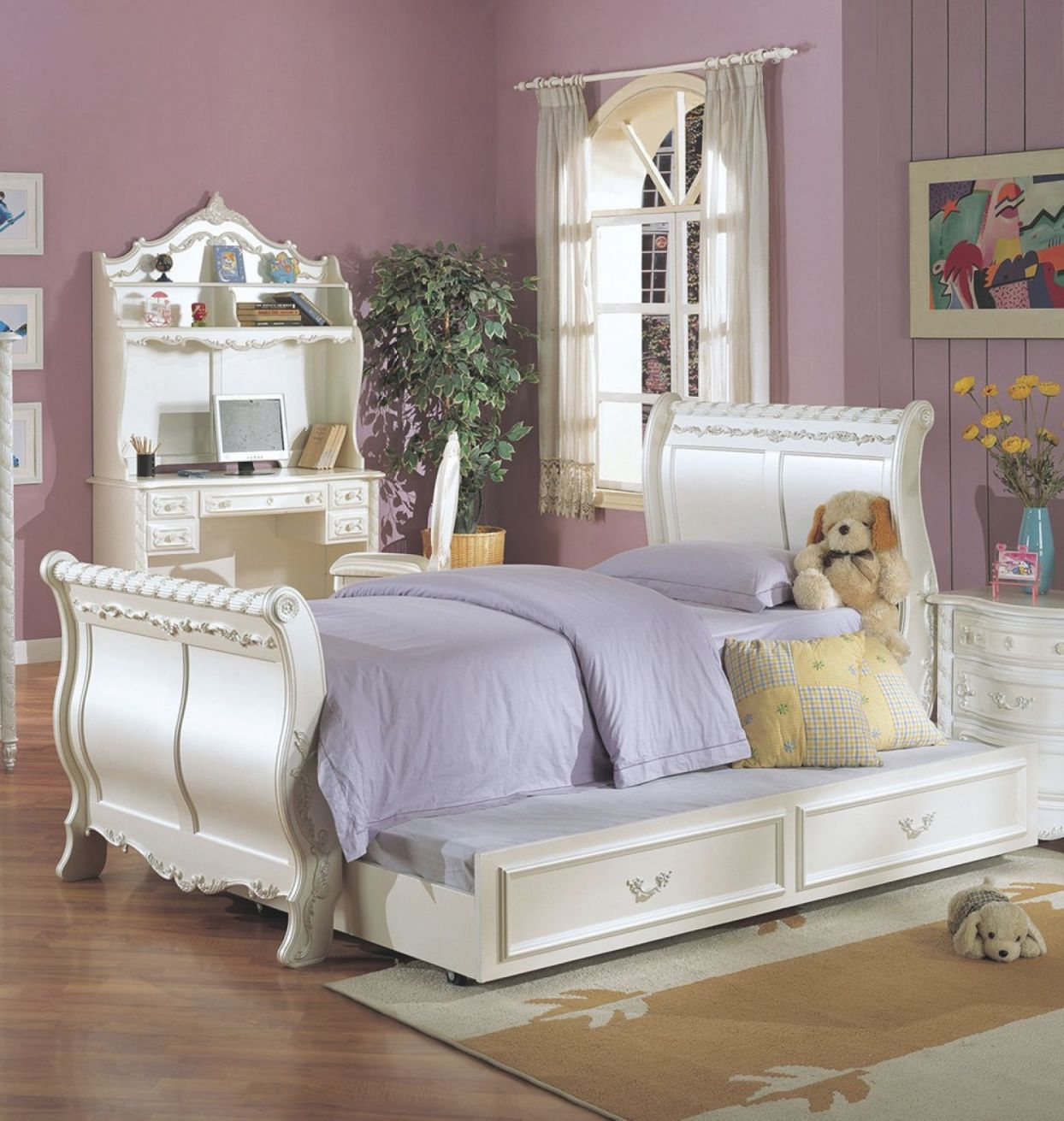 Pearl Youth Full Size Sleigh Bed W/trundle within Full Size Bed With Trundle Bedroom Set