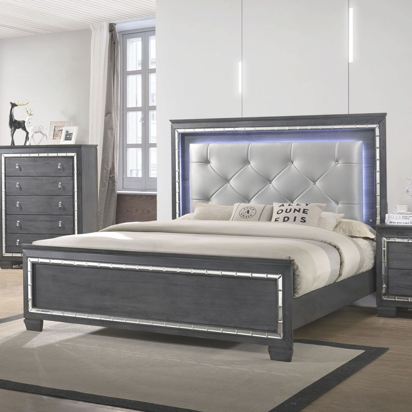Perina King Bed With Upholstered Led Headboardcrown Mark At Royal Furniture with regard to King Bed Frame With Headboard