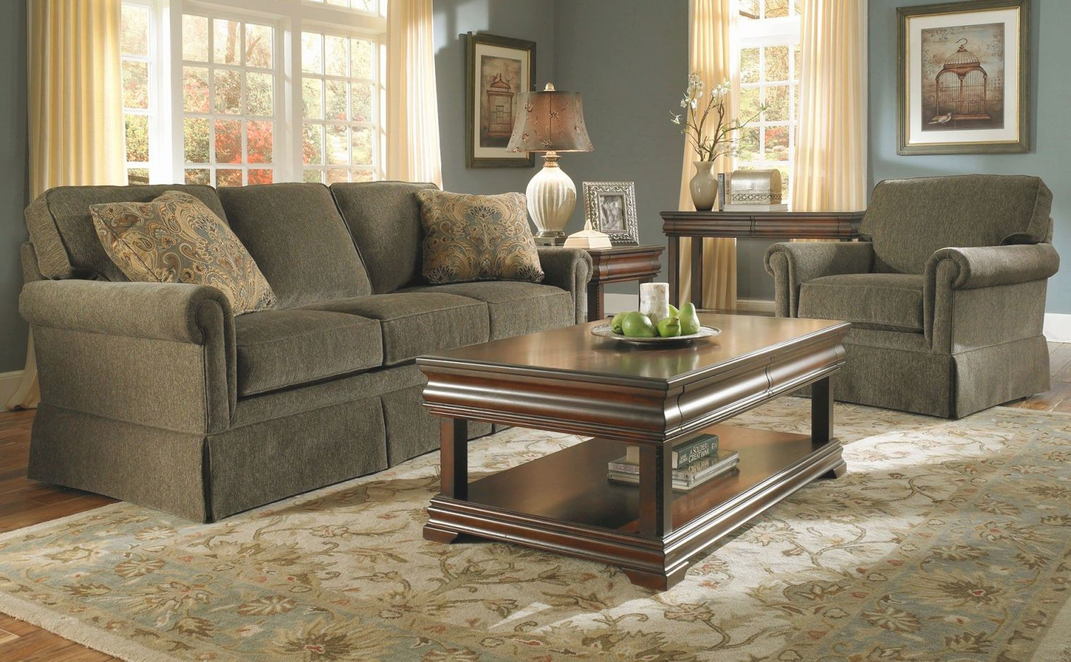 Picture of: Pingreat Sofas On Leather Sofa Olive Green Couches Pertaining To Inspirational Broyhill Living Room Furniture Awesome Decors