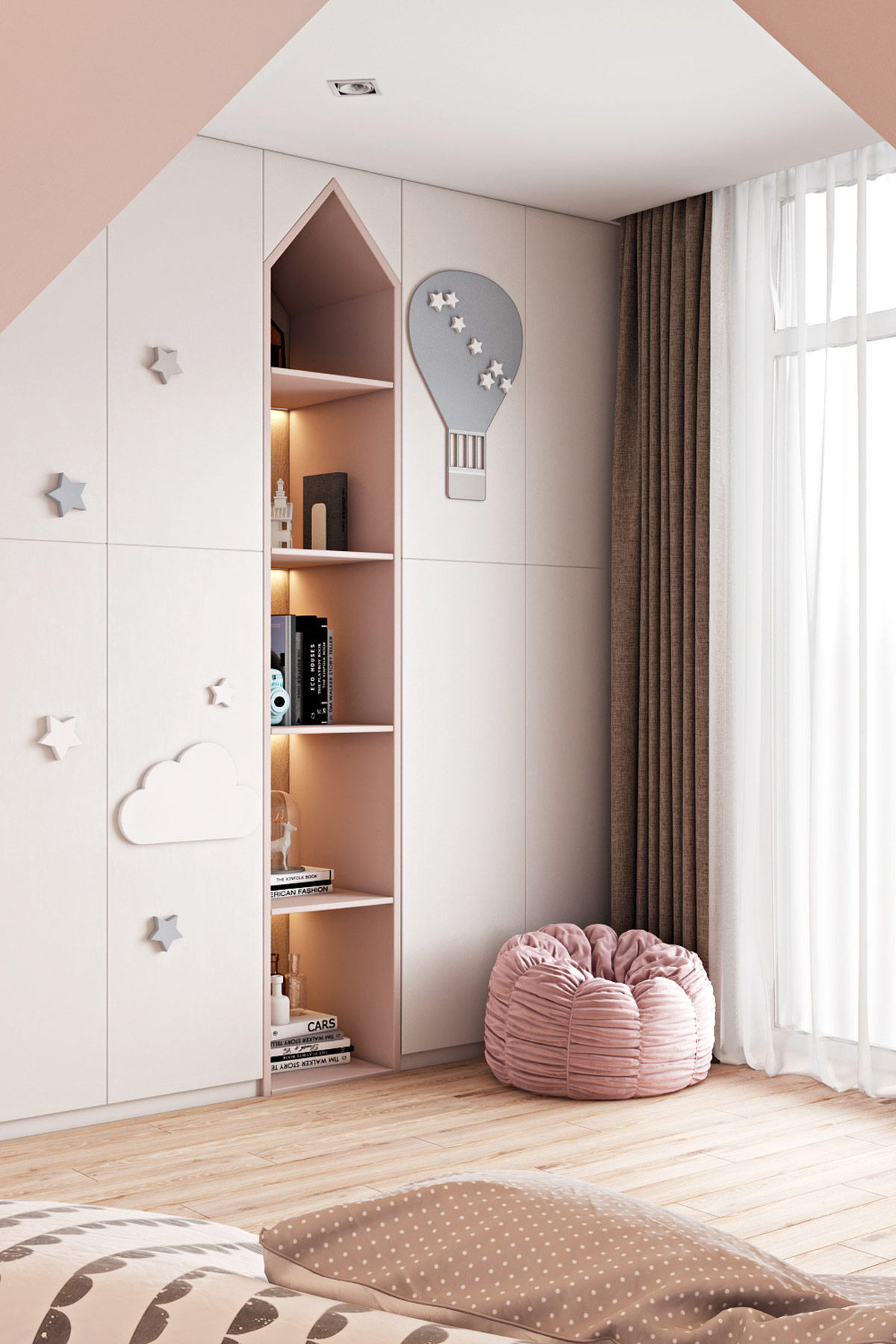 pink-kids-room-unique-reading-nook-ideas-house-shaped-shelves-with-star-and-cloud-decorations