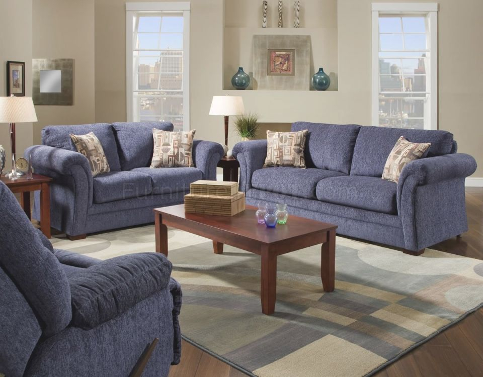 Plush Blue Fabric Casual Modern Living Room Sofa & Loveseat Set with regard to Luxury Casual Living Room Furniture