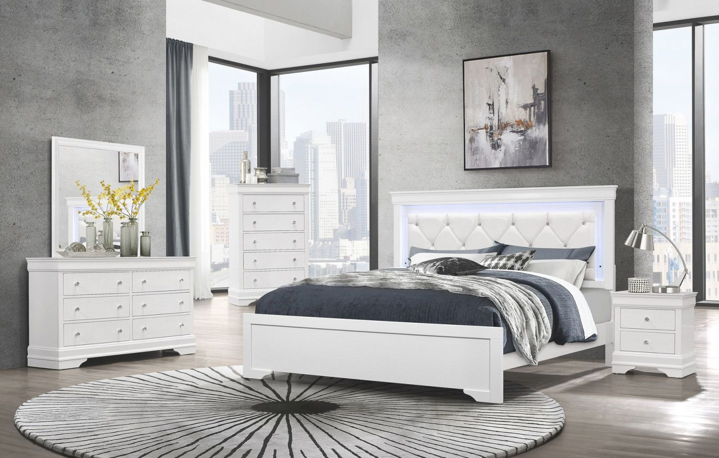 Pompei White Queen Set Queen Size B,2Ns,dr,mr throughout Bedroom Set Queen Size