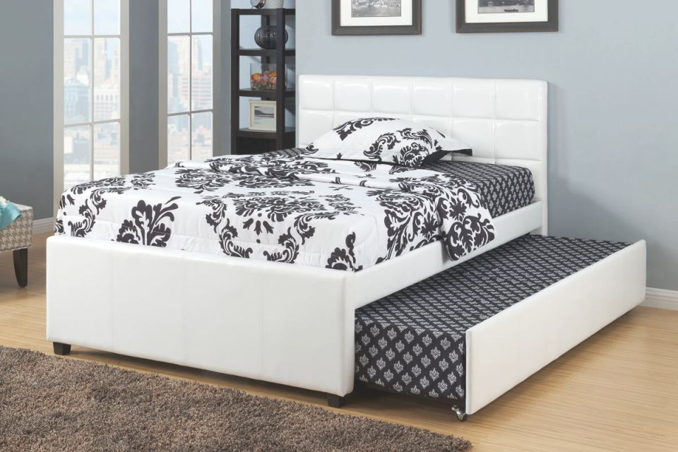 Poundex F9216F Orren Ellis Shekhar White Faux Leather Full Size Bed With Twin Size Trundle Bed, Slat Kits Included in Awesome Full Size Bed With Trundle Bedroom Set