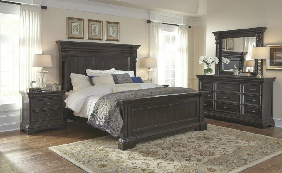 Pulaski Caldwell Panel Bedroom Set In Dark Wood with Bedroom Set Dark Wood