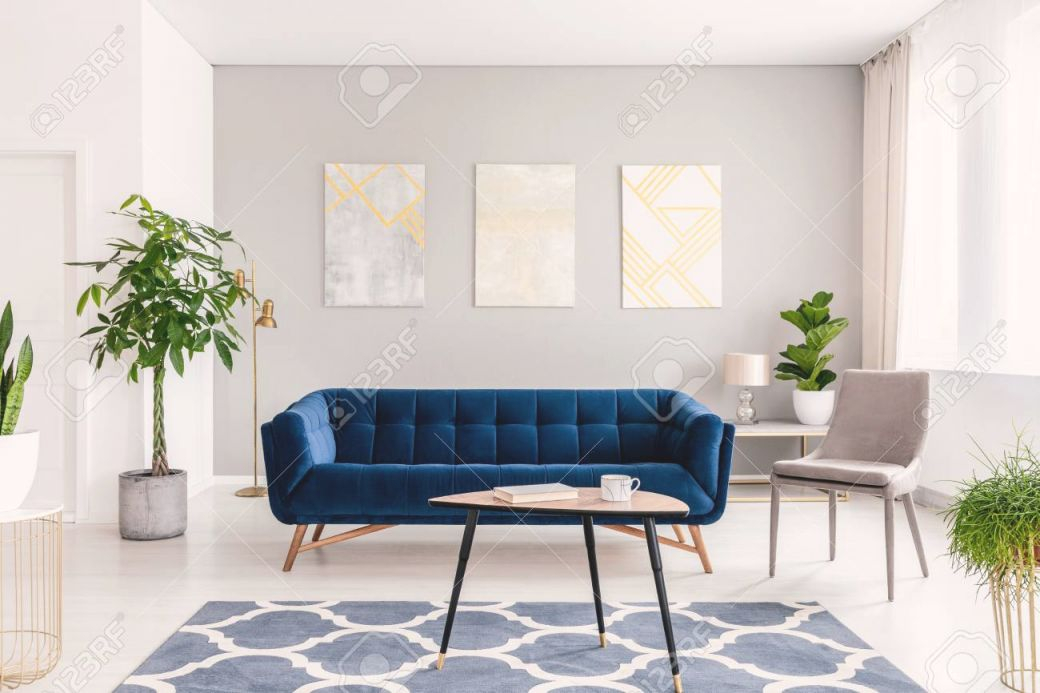 Real Photo Of Plants, Dark Blue Sofa And Posters On The Wall.. pertaining to Awesome Modern Living Room Furniture