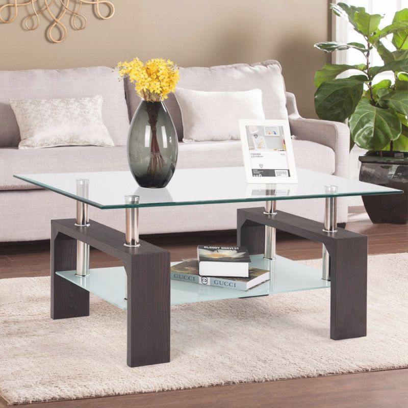 Rectangular Tempered Glass Coffee Table End Side Table With Shelf Home Furniture Living Room Furniture with regard to Unique Living Room Furniture Tables