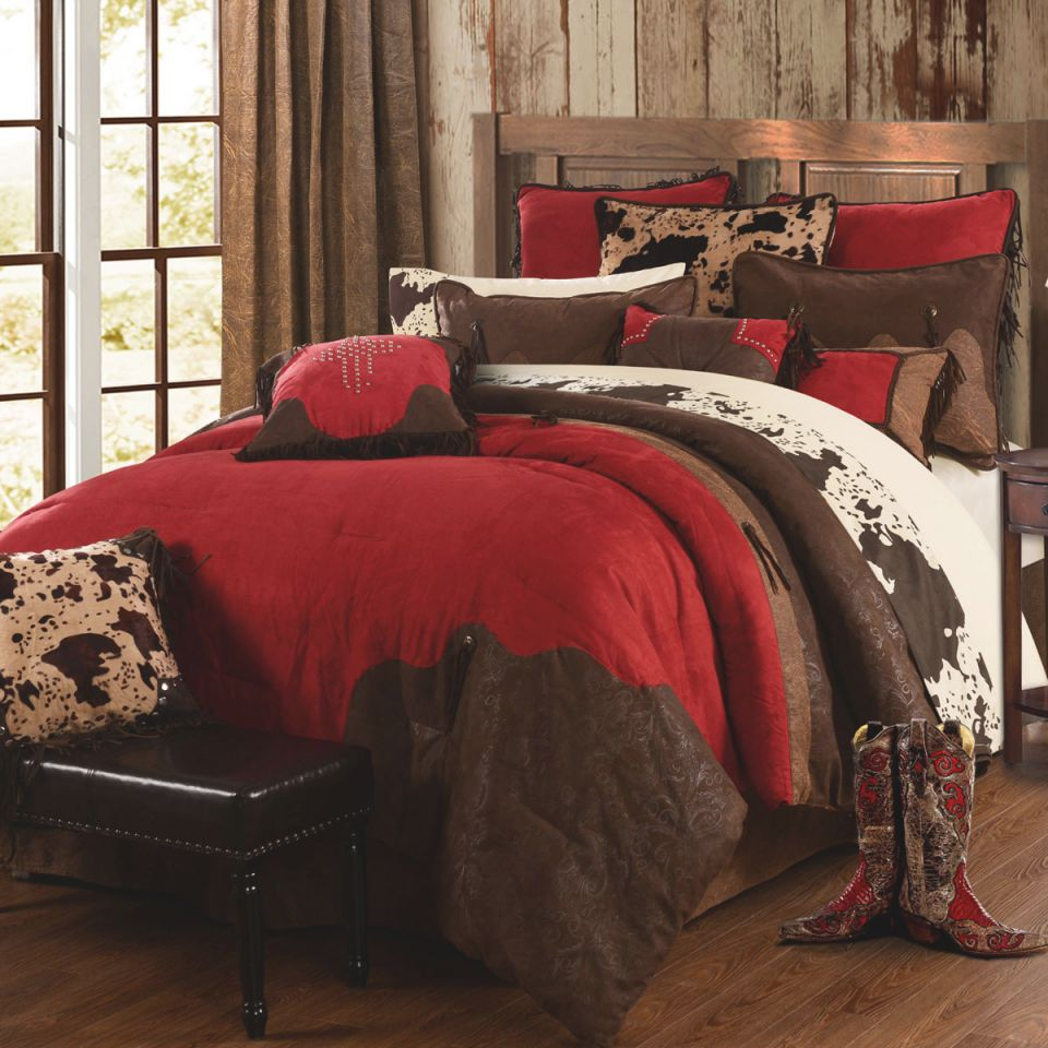Red Rodeo Bed Set - Queen within Luxury Bedroom Set Queen Size