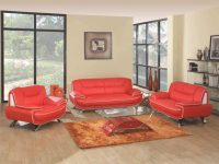 Red White Genuine Leather Living Room Gu405 in Luxury Red Leather Living Room Furniture