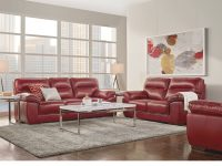 Modern Living Room With Red Leather Sofas And Built In Intended For Red Leather Living Room Furniture Awesome Decors