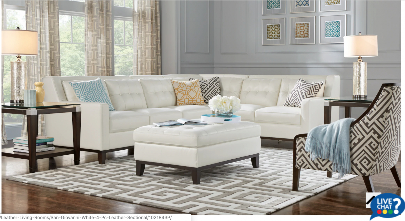 Rooms To Go: San Giovanni White 4Pc Leather Sectional intended for Rooms To Go Living Room Furniture