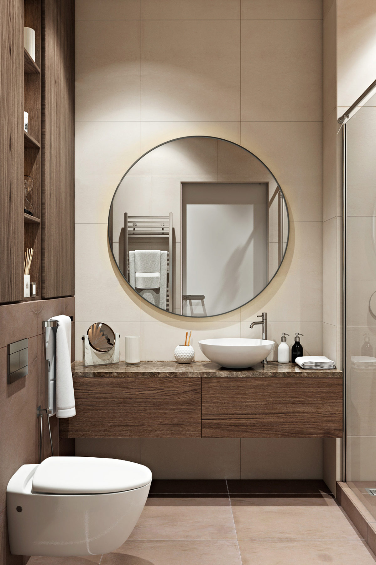 round-bathroom-mirror-above-stone-and-wood-bathroom-vanity