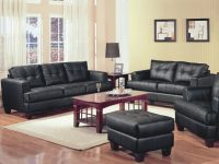 Samuel 2 Piece Black Bonded Leather Loveseat And Sofa Groupcoaster At Value City Furniture intended for Beautiful Contemporary Living Room Furniture Sets