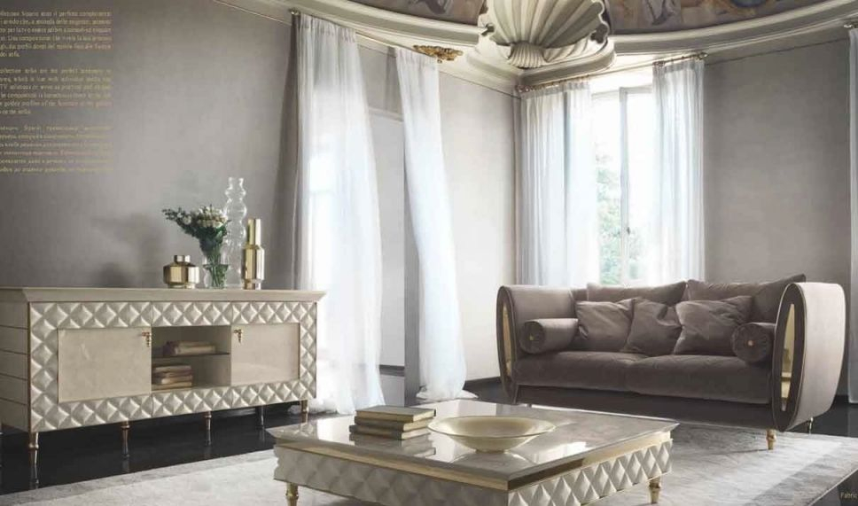 Sipario Contemporary Living Room Set In Gold & Blue, Beige ...