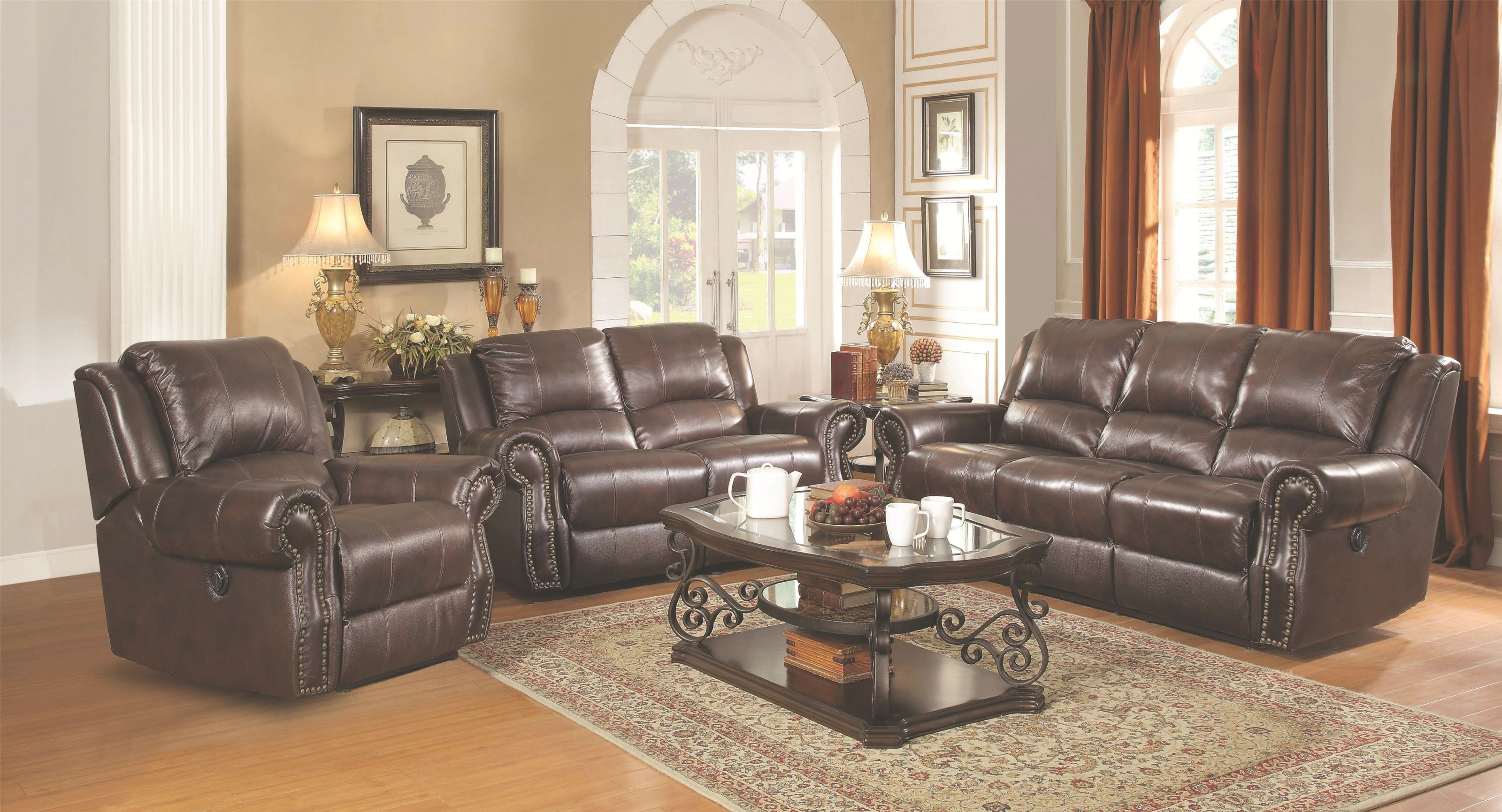 Sir Rawlinson Traditional Reclining Sofa With Nailhead Studs within Traditional Living Room Furniture