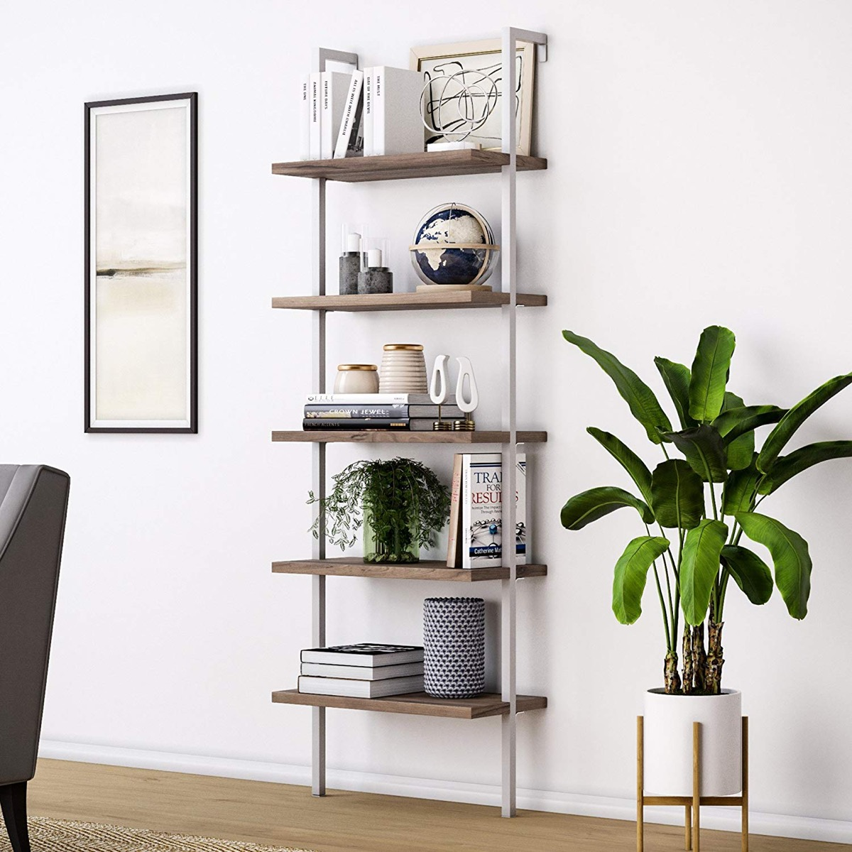 sleek-modern-wall-ladder-shelf-with-metal-frame-and-wood-shelves-mounts-to-wall